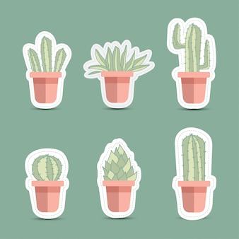Kaktusikonen in einer flachen art auf einem weißen hintergrund