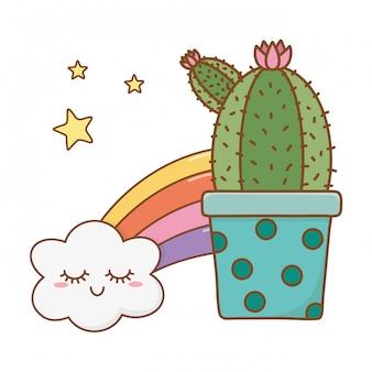 Kaktusikonenkarikatur mit wolken