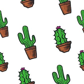 Kaktusillustrations-vektormuster nahtlos