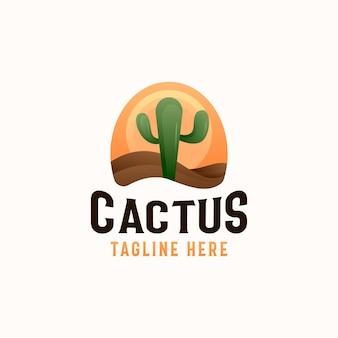 Kaktuspflanze in der wüste mit sonnenuntergang logo vorlage in weißem hintergrund isoliert