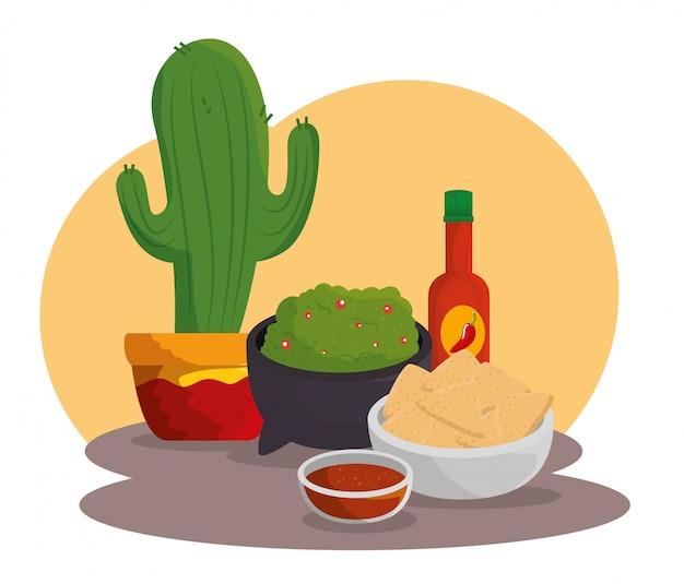 Kaktuspflanze mit mexikanischem lebensmittel zur feier