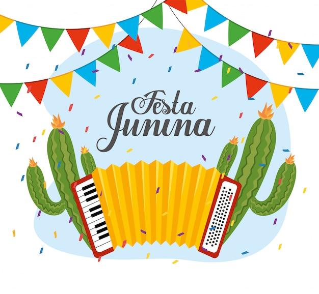 Kaktuspflanzen mit akkordeon und party banner