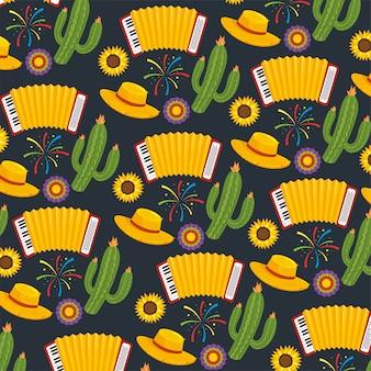 Kaktuspflanzen mit hut- und akkordeonhintergrund