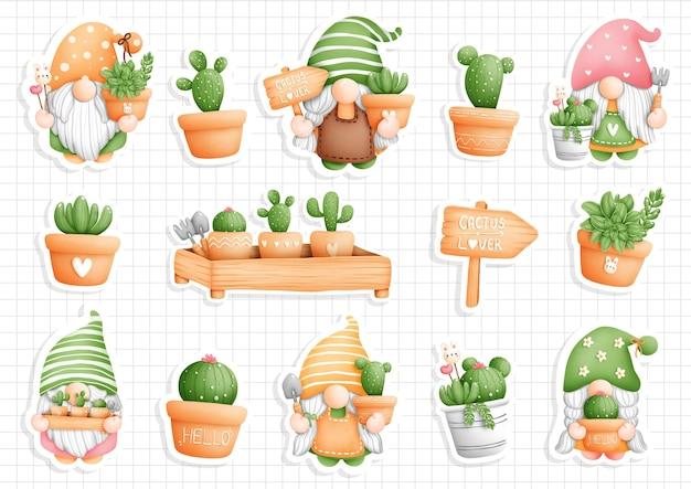 Kaktuszwerg, gartenzwerg-aufkleber, planer und sammelalbum.