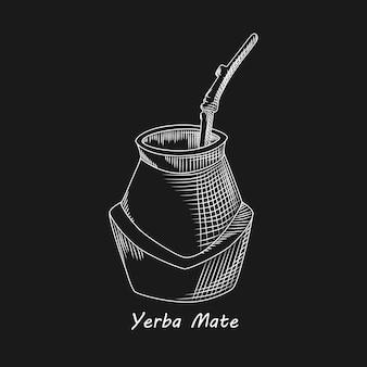 Kalebasse für yerba kameradgetränk auf schwarzem hintergrund