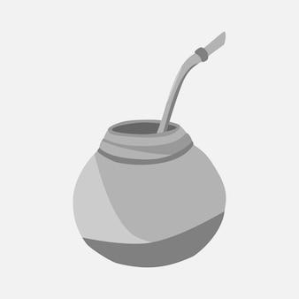 Kalebasse für yerba mate-getränk. mate-tee vektor isolierte darstellung