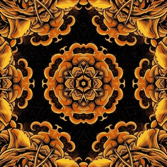 Kaleidoskop goldene bunte blume. helle illustration für design
