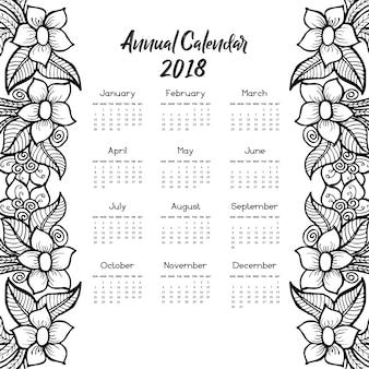Kalender 2018 mit handgezeichnetem blumenmuster
