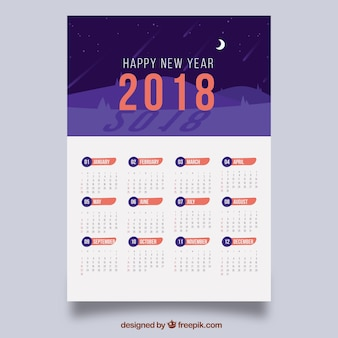 Kalender 2018 mit nachtlandschaft