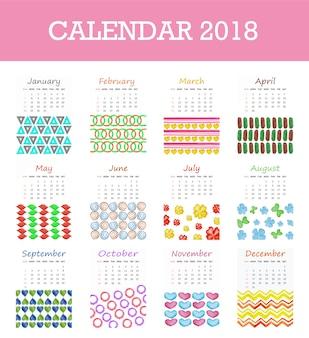 Kalender 2018 mit verschiedenen formen