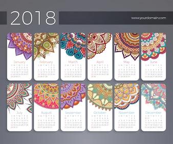Kalender 2018. Vintage dekorative Elemente