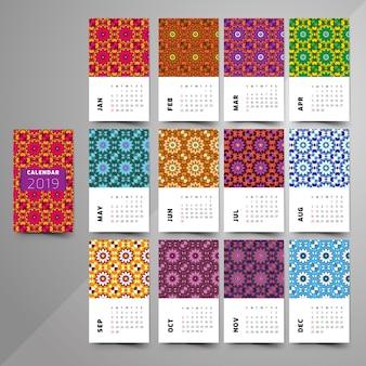 Kalender 2019. dekoratives element der weinlese