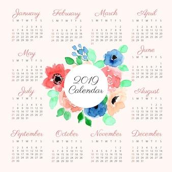 Kalender 2019 mit blumenaquarell