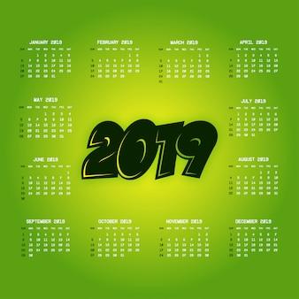 Kalender 2019 mit kreativem designvektor
