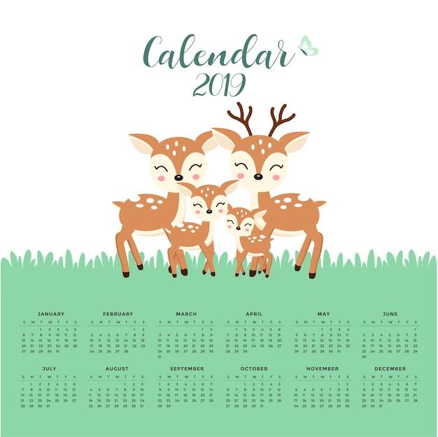 Kalender 2019 mit niedlicher hirschfamilie. handgezeichnete vektor-illustration