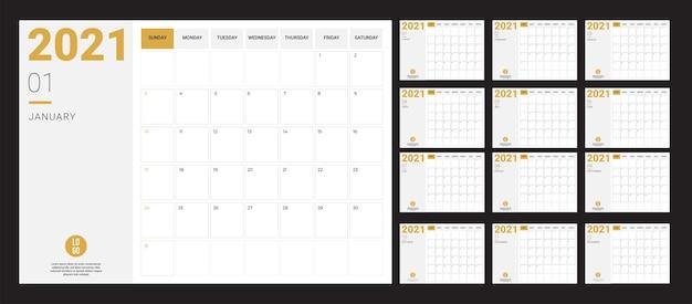 Kalender 2020 - abbildung. schablone. die mock-up-woche beginnt am sonntag. vektor-illustration Premium Vektoren