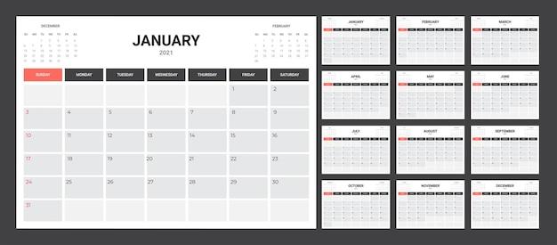 Kalender 2020 - abbildung. schablone. die mock-up-woche beginnt am sonntag