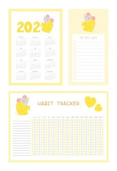 Kalender 2020, gewohnheitsverfolger und liste mit den flachen vektorschablonen der netten maus tun eingestellt