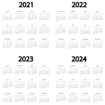 Kalender 2021 2022 2023 2024 jahr die woche beginnt am sonntag jahreskalendervorlage