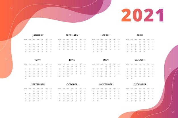 Kalender 2021 im abstrakten stil.