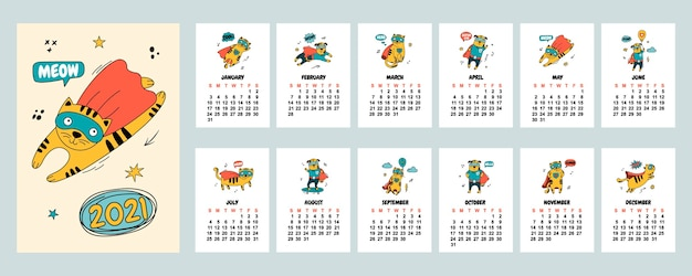 Kalender 2021 mit handgezeichneten katzen und hunden in comic-kostümen.