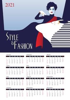 Kalender 2021 mit modefrau im pop-art-stil