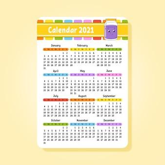 Kalender 2021 mit niedlichem charakter