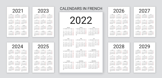 Kalender 2022, 2023, 2024, 2025, 2026, 2027, 2028 jahre auf französisch. vektor-illustration. schreibtischplaner.