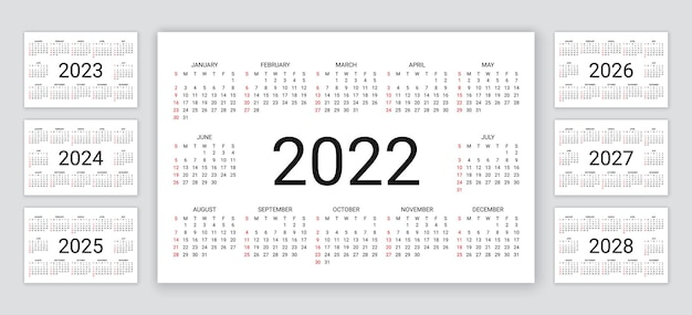Kalender 2022, 2023, 2024, 2025, 2026, 2027, 2028 jahre. vektor-illustration. einfache kalendervorlage.
