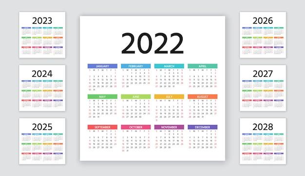 Kalender 2022, 2023, 2024, 2025, 2026, 2027, 2028 jahre. woche beginnt sonntag. kalenderlayout