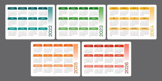 Kalender 2022 2023 2024 2025 2026 einfache horizontale designvorlage woche beginnt am sonntag
