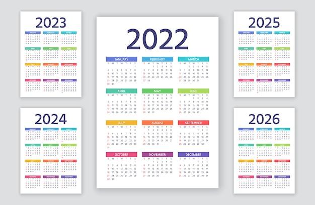 Kalender 2022, 2023, 2024, 2025, 2026 jahre. woche beginnt sonntag. einfache jahresvorlage von taschen- oder wandkalendern