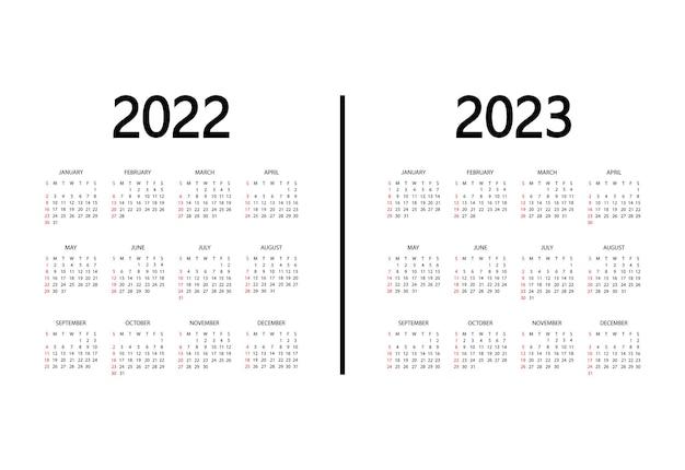 Kalender 2022 2023 jahr die woche beginnt am sonntag jährliche organizer-vorlage kalendermodell
