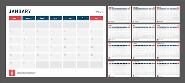 Kalender 2022 - abbildung. vorlage. die mock-up-woche beginnt am sonntag