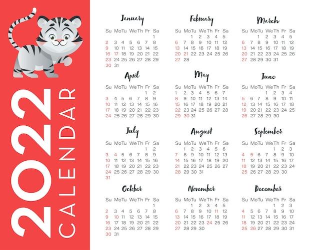 Kalender 2022 für usa mit tigerillustrationssymbol jahr kalenderraster in englisch