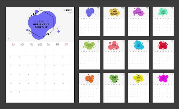 Kalender 2022 - illustration mit motivierenden zitaten. vorlage. die mock-up-woche beginnt am sonntag