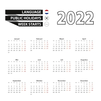 Kalender 2022 in niederländischer sprache, woche beginnt am montag.