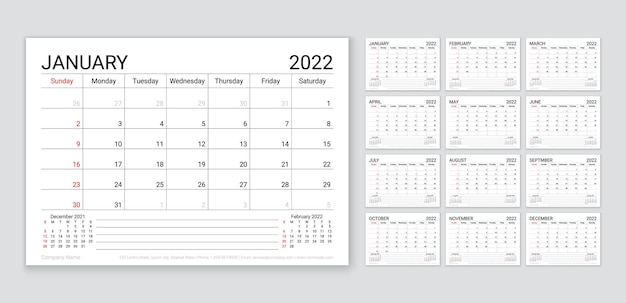 Kalender 2022. planer-vorlage für das jahr. woche beginnt sonntag. vektor. monatlicher kalenderorganisator. tabellenplanraster mit 12 monaten. layout des jahreskalenders des unternehmens. horizontale einfache abbildung.