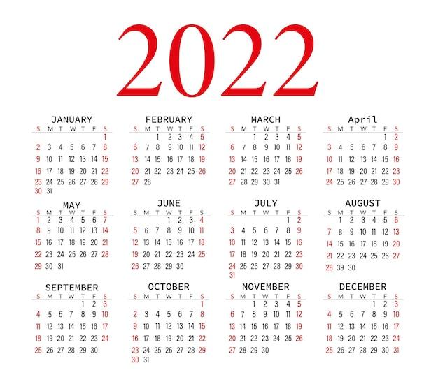 Kalender 2022 schwarzweiß mit rotem bürokalender vektorgrafiken