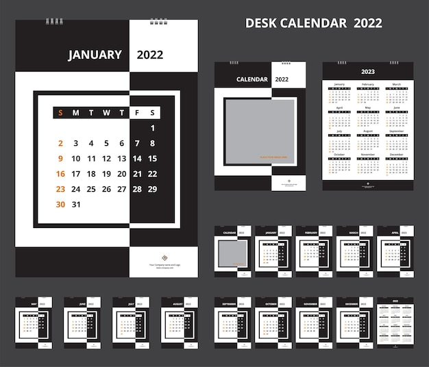 Kalender 2022. tischkalender für corporate design-vorlage. die woche beginnt am sonntag.
