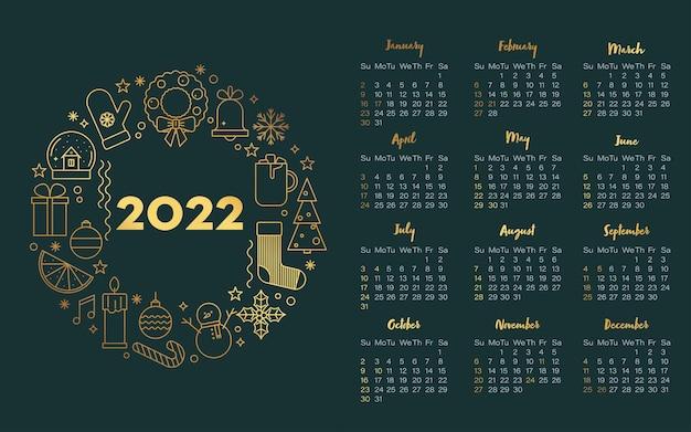 Kalender 2022 vereinigte staaten im luxuriösen goldenen stil