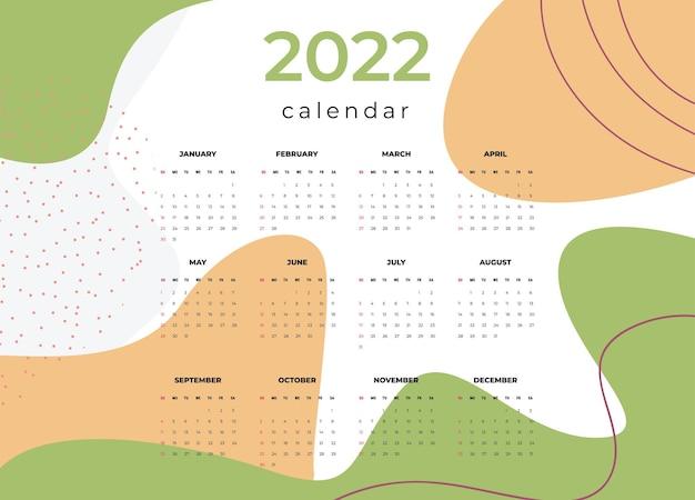 Kalender 2022 vorlage vektor set tischkalender 2022 wandkalender design