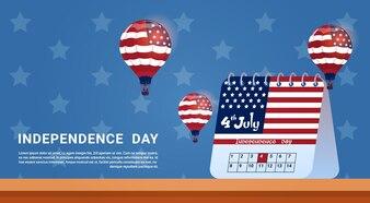 Kalender 4. Juli Unabhängigkeitstag der Vereinigten Staaten