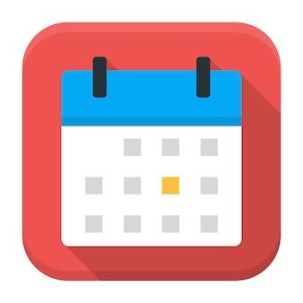 Kalender-app-symbol mit langem schatten. flaches stilisiertes quadratisches app-symbol mit langem schatten