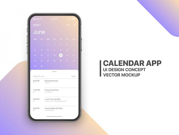 Kalender app ui ux konzept juni seite