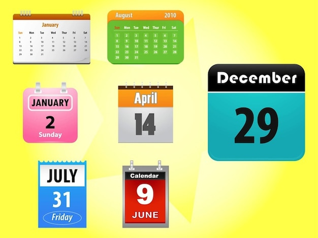 Kalender applikations-icons vektor-pack