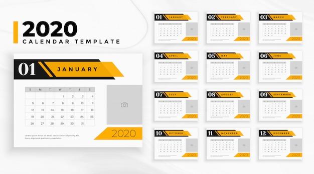 Kalender des berufsgeschäfts 2020 im geometrischen stil