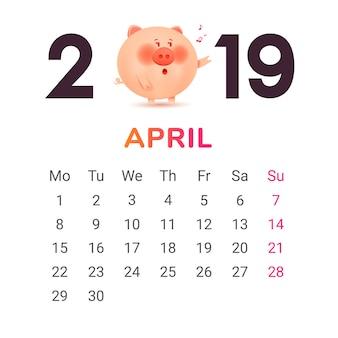 Kalender für 2019.