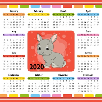 Kalender für 2020 mit einem niedlichen charakter.