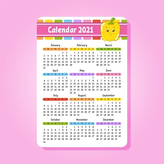 Kalender für 2021 mit einem niedlichen charakter. spaß und helles design.
